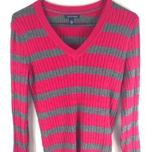 Tommy Hilfiger striped v-neck sweater size M